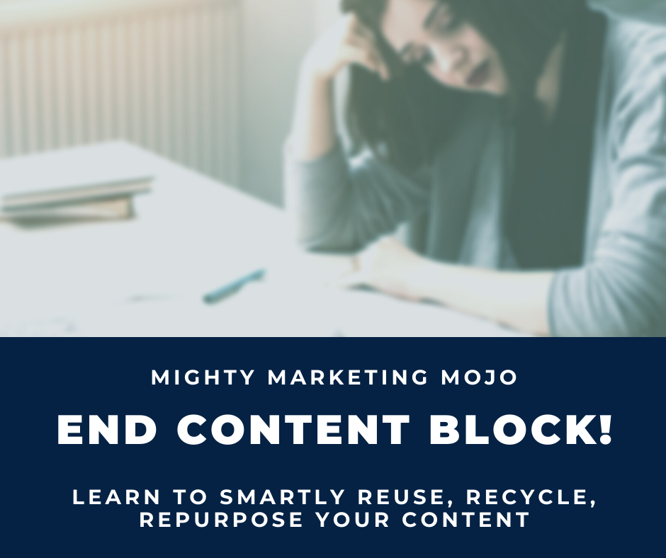 frustrated business woman end content writer's block content repurposing workshop Mighty Marketing Mojo